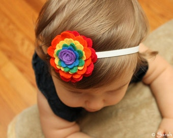 Elastic Headband with Rainbow Felt Flower - Perfect for School, Kids, Teens and Adults