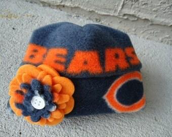 Chicago Bears Flower Fleece Hat Sizes Newborn Baby Girls to Adult Women