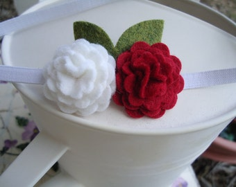 Red and White Wool Felt Flower Blossoms Headband