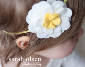 White Daisy Felt Flower with Yellow Elastic Headband