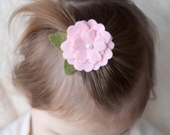 Pink Pearl Felt Flower Hair - Great for Girls, Teens, Women