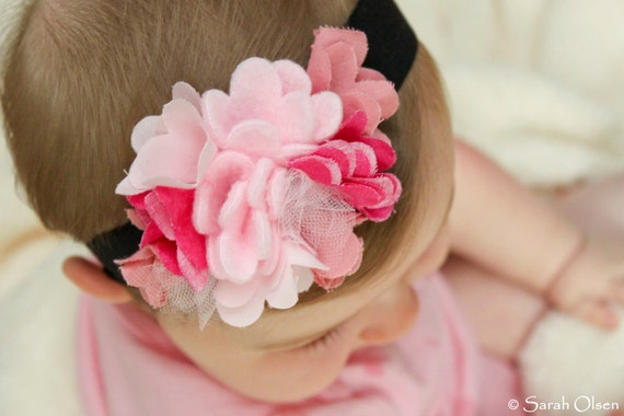 Light and Dark Pink Felt and Fabric Flower Headband with Soft Elastic Band