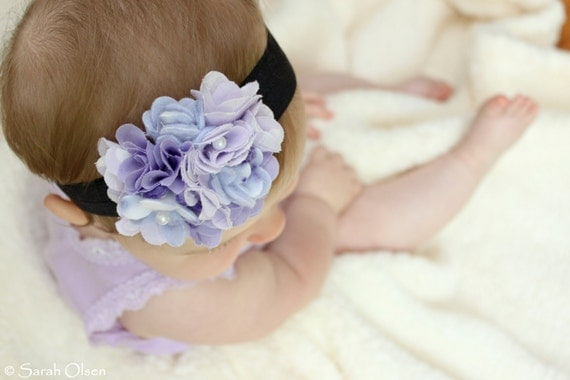 Purple Pearl Fabric Flower Headband with Soft Elastic Band