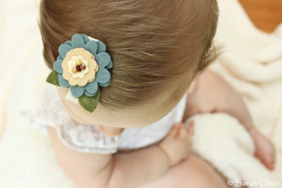 Blue & Tan Felt Flower Hair Clip - Accented with beads