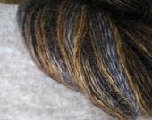 Tall, Dark and Handsome -- handspun Wensleydale fine fingering singles yarn -- 600 yds