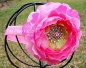 Pink Flower Headband - Pink Silk Flower w/ Pink Rhinestone Center Stretchy Headband or Hair Clip - Baby Toddler Girl