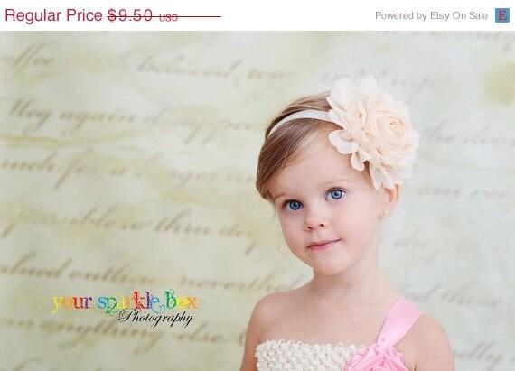 Ivory / Cream Flower Headband - Jumbo Chiffon Rose Stretchy Ivory Headband or Hair Clip - The Emma - Vintage Inspired - Wedding  Flower Girl