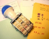 Vintage Rotating DATE rubber STAMP with library pocket cards kit