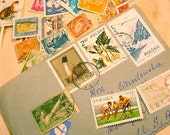 Over 100 Vintage POSTAGE Stamps in a canceled Envelope for assemblage collage art jewelry