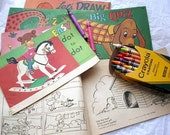 7 Vintage Coloring Activity Books Circa 1973. Dot to Dot. Mazes. Draw and Color