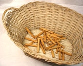 VINTAGE Wooden Clothes Pins Wicker Laundry Basket. Childs Toy REDUCED