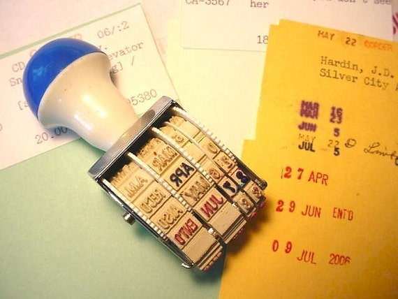 Vintage Rotating Date Rubber Stamp With Library Pocket Cards