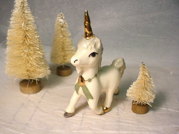 Vintage Unicorn Ceramic Figurine c. 1980s Gold Accents