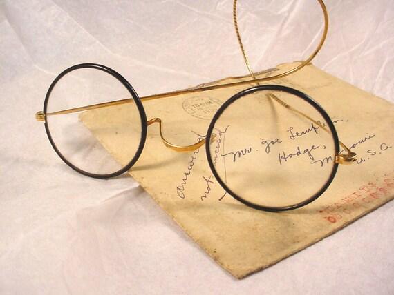 Vintage Antique Gold Filled Plated Horn Rimmed Eyeglasses