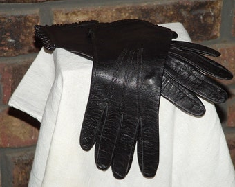 Vintage Small Black Riding Gloves, Womens Small Riding Gloves, Driving GLoves, Size Small Womens Gloves, Black Gloves, Small Gloves