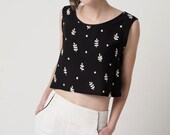 Black and White Vintage Fabric Crop Top