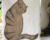 Handmade Oriental Cat blank greetings card UK seller