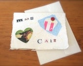 Mmm Cake handmade blank retro greetings card UK seller
