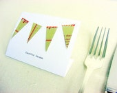 wedding escort cards,vintage paper bunting place cards