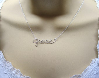 Personalized Wire Name Necklaces, handmade .925 sterling silver jewelry, everyday, wedding, bridesmaid, best friend