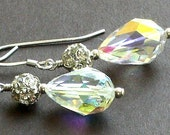 40% Off - Vintage Swarovski Crystal Earrings with Sterling Silver - Belle