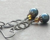 Sale - Swarovski Pearl, Crystals and Antiqued Brass Earrings - Changing Seasons
