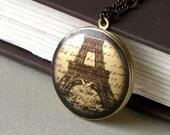 Sale - Paris Locket Necklace - Altered Art Photo, Paris Ephemera