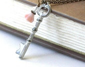 RESERVED For Rosie White Shabby Chic Skeleton Key Necklace - Garden Gate