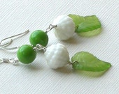40% Off - Vintage German Glass, Lucite Leaves and Czech Glass Earrings - Leafy Greens
