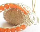 40% Off - Peach Czech Glass, Single Wrap Leather Bracelet, Mother of Pearl Button, Handmade by Studio Seventy Five