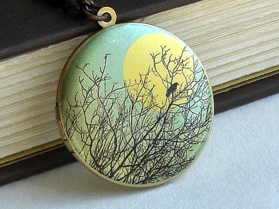 Blackbird In A Tree - Photo Art Locket Necklace