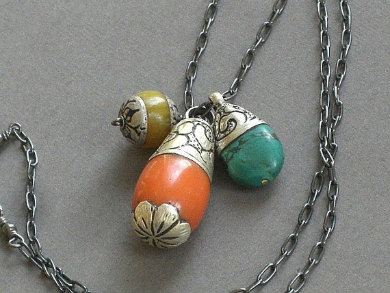 Sale - Tibetan Coral, Amber, Turquoise and Stering Silver Necklace - Lost In Tibet