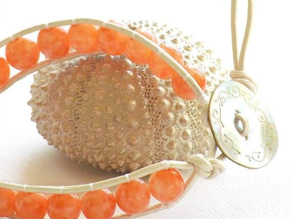 40% Off - Peach Czech Glass, Single Wrap Leather Bracelet, Mother of Pearl Button, Handmade by Studio Seventy Five