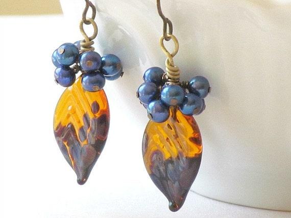 40% Off - Orange and Purple Leaf Earrings, Lampwork Glass, Freshwater Pearl, Handmade by Studio Seventy Five
