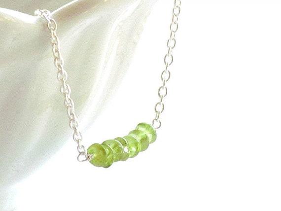 40% Off - Simple Peridot Gemstone Sterling Silver Necklace Handmade by StudioSeventyFive