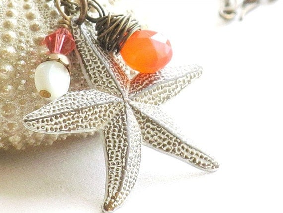 40% Off - White Starfish Necklace, Orange Chalcedony, Mother of Pearl, Antiqued Brass Chain