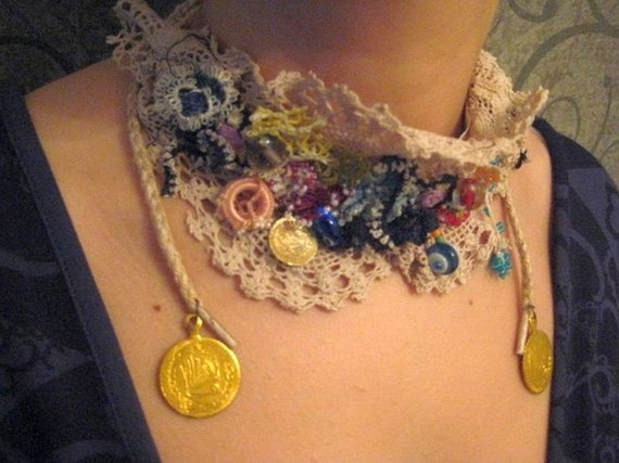 authentic handmade lace necklace / neckwear with ottoman coins