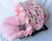 Infant Car Seat Cover-Urban Girl with matching Strap Covers--SALE 49.00 Ships Today