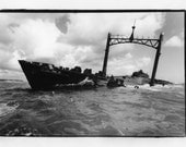 Traditional Black and White Fiber Based Photographic print of a shipwreck in the Carribean.