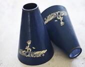 two vintage megaphones