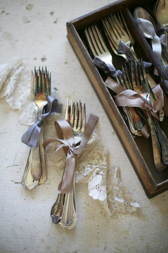 mixed silver plate forks