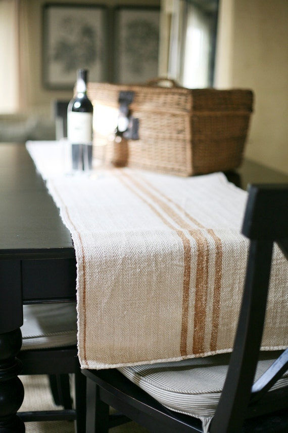 carmel grain sack table runner