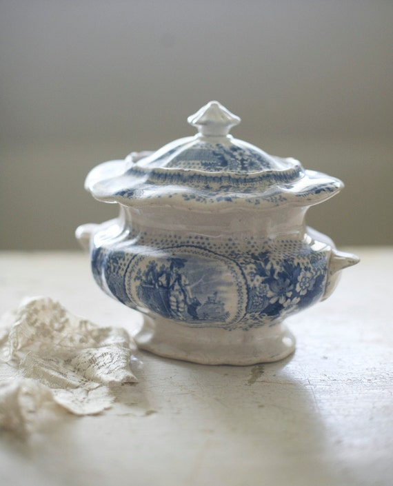 transferware lidded pot (reserved)