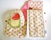 Handmade Baby Bib, Burp Cloth and Taggie - Coral, Green, and Yellow Ruffled Bouquets