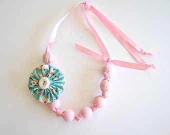 Fabric Beaded Knotted Necklace -  Soft Ballet Pink with Pink Grosgrain Ribbon