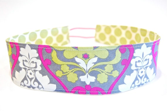 """Ready to Ship Handmade Ladies Reversible Soft """"WIDE"""" Headband - Pickled Pink with Lime Green Polka Dots"""
