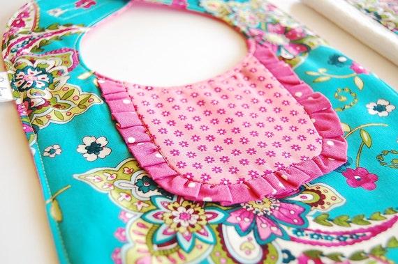 Ready to Ship - Handmade Ruffled Bib, Burp and Ribbon Blanket Set - Turquoise, Hot Pink and Green Paisley