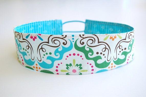 "Handmade Reversible Fabric Headband - ""WIDE"" Whimsical Swirl with Turquoise Diamonds"