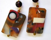large resin collage tile pendants amber bone garnet cobalt plum wisteria  inlay glass topaz bead earrings