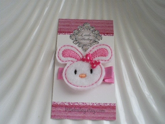 Little White Bunny With Bubblegum Pink Stitching Hair Clip